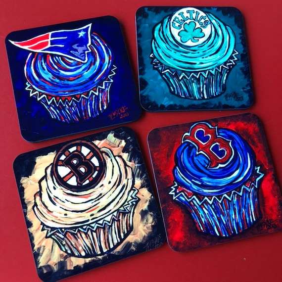 New England Sports Team Cupcake Coasters by Tracy Levesque Sold Individually Boston Red Sox, Celtics, Patriots, Bruins