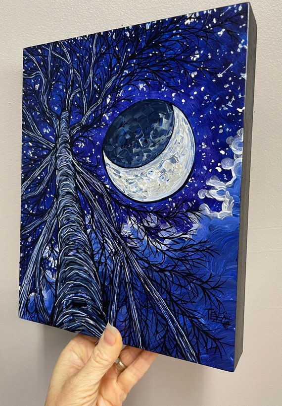 """9x12"""" Crescent Moon Mysterious Night Starry Sky original painting by Tracy Levesque"""