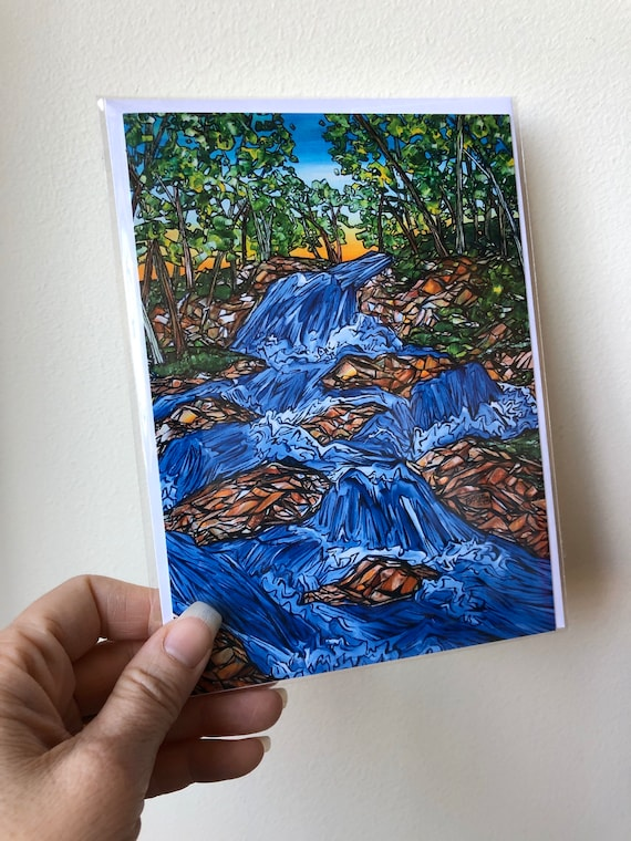 """5x7"""" Waterfall greeting card in archival sleeve featuring artwork by Tracy Levesque"""