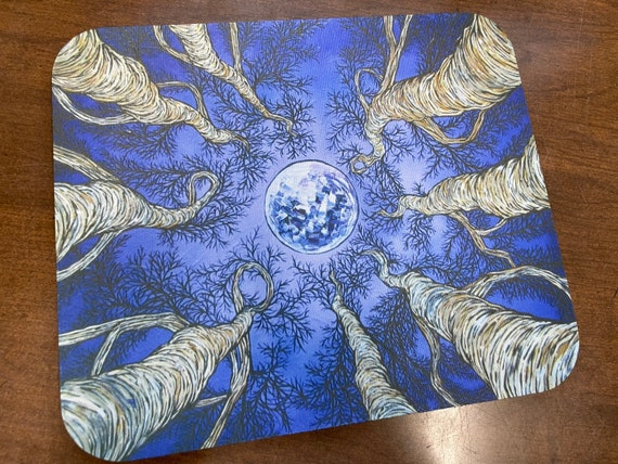 Looking Up the Trees at the Moon mousepad featuring artwork by Tracy Levesque