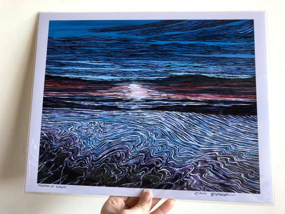 "11x14"" Unmatted Giclee Print of ocean waves Dream of Dawn by Tracy Levesque"