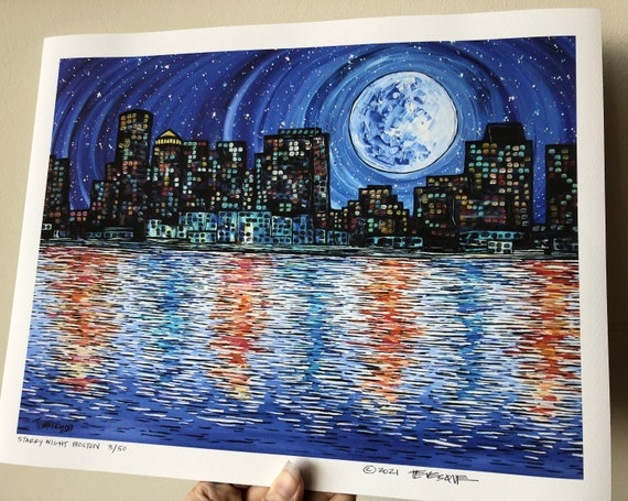 """11x14"""" Giclee Fine Art print Starry Night Boston Cityscape by Tracy Levesque"""