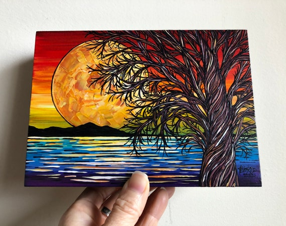 "5x7"" Verses in the Sky Rainbow Full Moon original acrylic painting by Tracy Levesque"