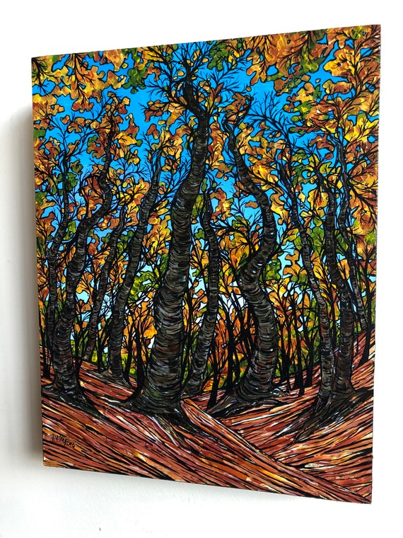 """Walden Pond Trees 11x14"""" original acrylic painting on wood panel by Tracy Levesque"""