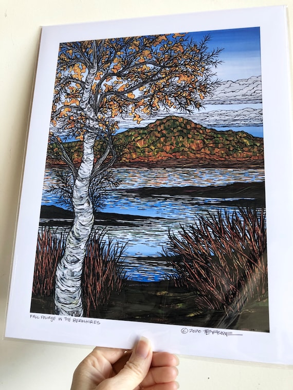 "11x14"" Giclee print of Fall Foliage in the Berkshires Western Massachusetts Birch Tree by Tracy Levesque"