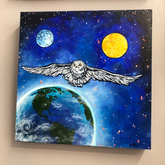 """Cosmic Owl, 16x16"""" Original Acrylic Painting by Tracy Levesque"""