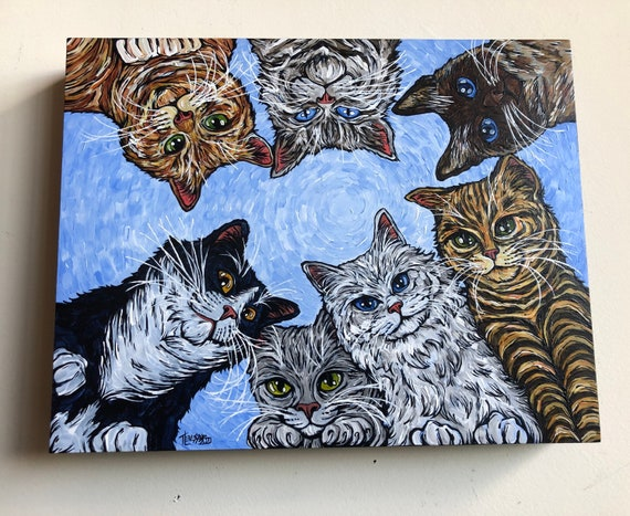 """Catspiracy 11x14"""" original acrylic painting on wood panel by Tracy Levesque"""