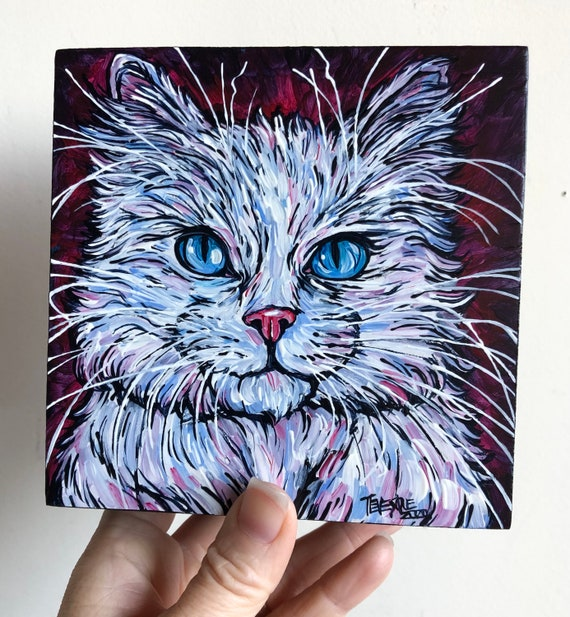 "5x5"" Fluffy White Cat original acrylic painting by Tracy Levesque"