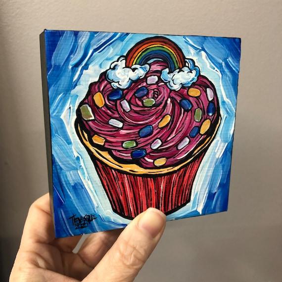 "4x4"" Rainbow Confetti Birthday Cupcake original acrylic painting by Tracy Levesque"