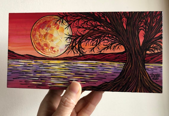 """4x8"""" Chromatic Oak Full Moon beautiful oblong original painting by Tracy Levesque"""