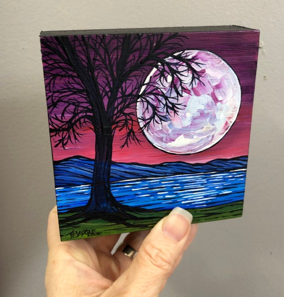 "4x4"" Tranquil Full Moon original acrylic painting by Tracy Levesque"