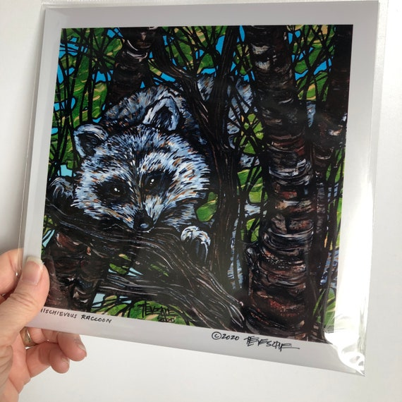 "Mischievous Raccoon 8x8"" metallic photographic print featuring artwork by Tracy Levesque"