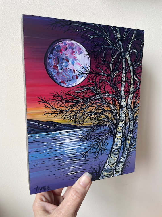 """6x8"""" Birch Moon Mountain Scene original acrylic painting by Tracy Levesque"""