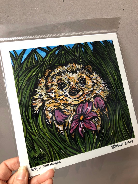 """8x8"""" Hedgehog Print by Tracy Levesque Metallic photographic print of artwork"""
