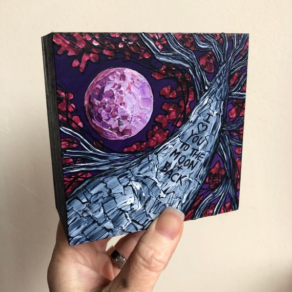 """4x4"""" I Love You to the Moon and Back original acrylic painting by Tracy Levesque special anniversary or Valentines Day gift"""