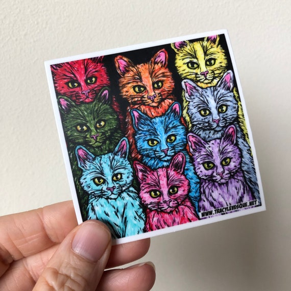 """3x3"""" Cats of a different color rainbow cat lover vinyl sticker"""