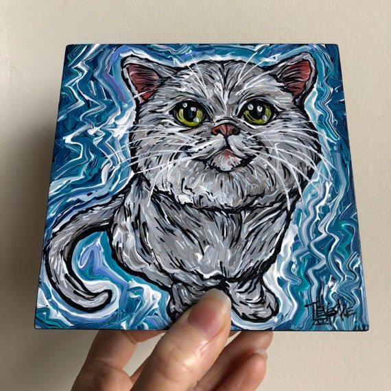 """5x5"""" Fluffy Kitty Cat original cat painting by Tracy Levesque"""