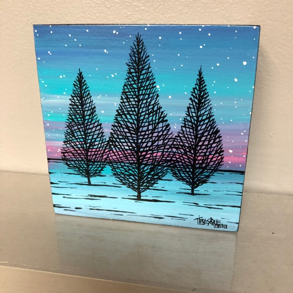 "4x4"" Periwinkle Winter Trees original acrylic painting by Tracy Levesque"