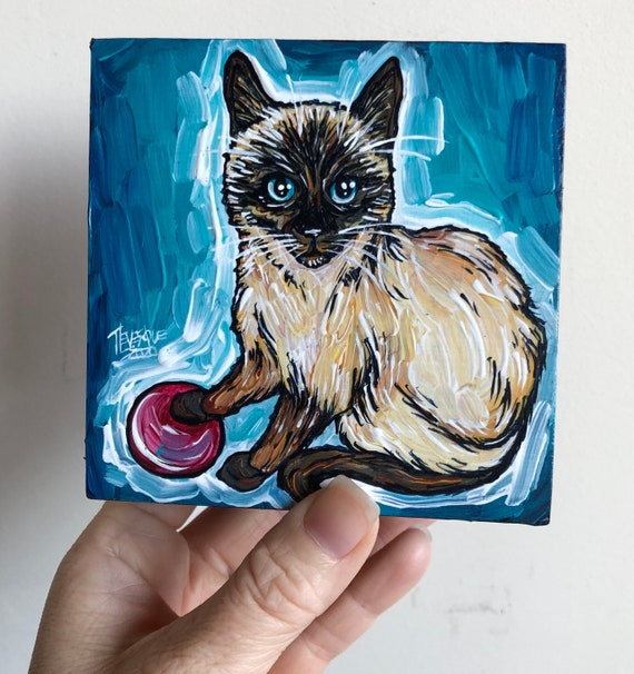 "4x4"" Play with Me Siamese Cat original acrylic painting by Tracy Levesque"