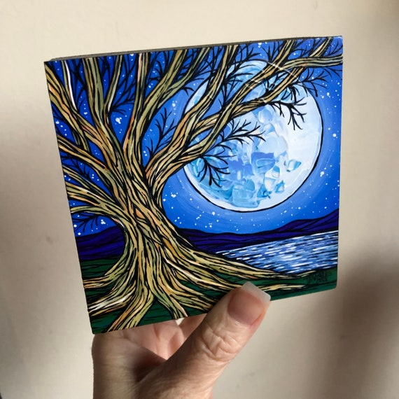"""4x4"""" Moonlit Tree original acrylic painting by Tracy Levesque"""