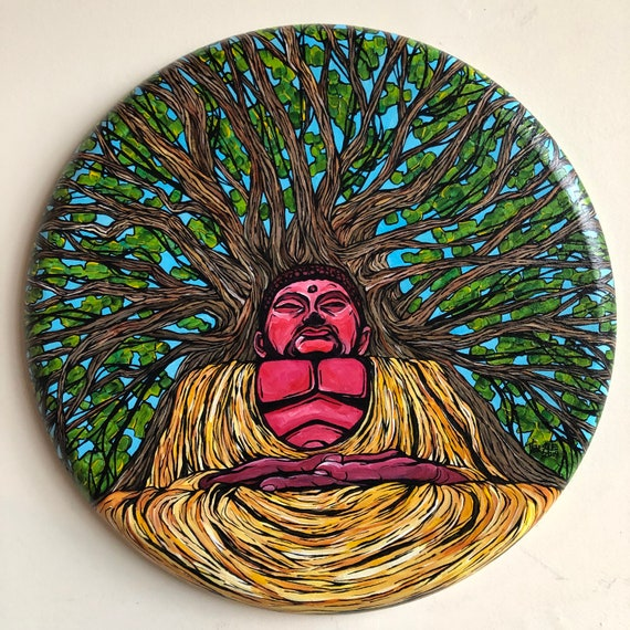 """Bodhi Tree 20"""" Round Original Acrylic Painting by Tracy Lévesque"""