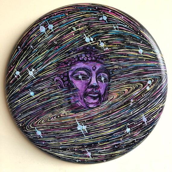 """Expansive Mind Buddha Universe 20"""" Round Original Acrylic Painting by Tracy Lévesque"""