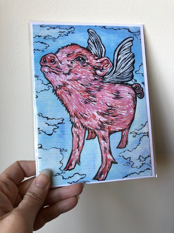 """5x7"""" Flying Pig greeting cards featuring artwork by Tracy Levesque"""
