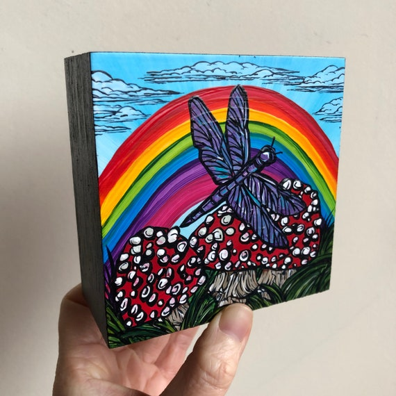 """4x4"""" Magic Mushrooms with Rainbow Dragonfly original acrylic painting by Tracy Levesque"""