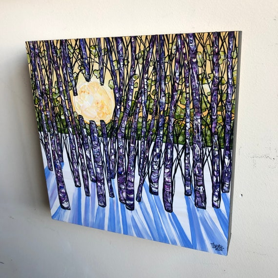 """10x10"""" Sunlight Through the Winter Birch Trees original acrylic painting by Tracy Levesque"""