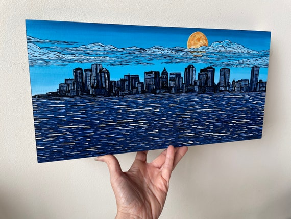 """8x16"""" Sunny Day East Boston Cityscape Skyline painting by Tracy Levesque"""
