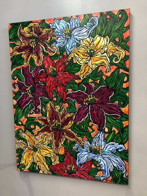 "30x40"" Garden Lilies original acrylic painting by Tracy Levesque"