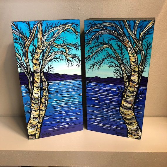 Blue Mountain Birches diptych original acrylic painting set by Tracy Levesque