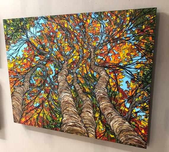 "24x30"" Cornucopia of Fall Color Beautiful one of a kind original acrylic painting on wood by Tracy Levesque"