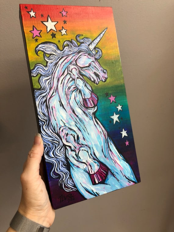 "White Unicorn 6x12"" original acrylic painting on birch panel by Tracy Levesque"