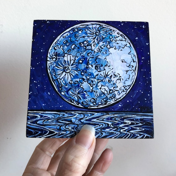 """4x4"""" Blue Moon Waves Topographical Moon Painting by Tracy Levesque"""