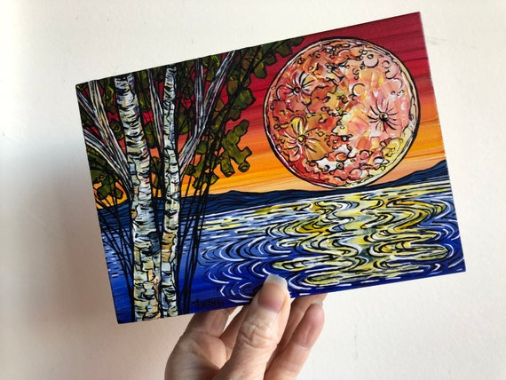 "5x7"" Full Moon over the Water Birch Tree Sunset original acrylic painting by Tracy Levesque"