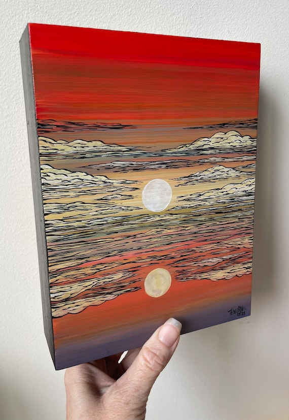 """6x8"""" Unearthly Beauty Sunset unique landscape painting by Tracy Levesque"""