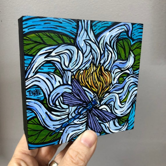 "4x4"" White Water Lily with Dragonfly original acrylic painting by Tracy Levesque"