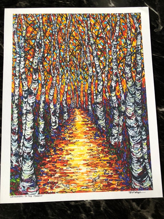 """Cathedral in the Forest Aspen Path 11x14"""" fine art giclee by Tracy Levesque"""
