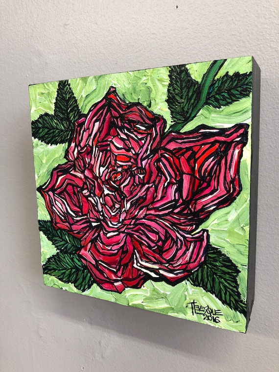 Red Rose on Green, original acrylic painting by Tracy Levesque