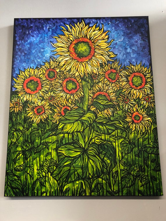 "Sunflower City 24x30"" original acrylic painting by Tracy Levesque"