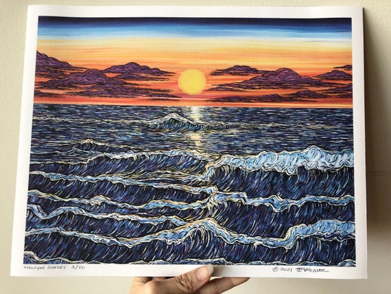 """11x14"""" Giclee Fine Art print of Halcyon Sunset seascape by Tracy Levesque"""