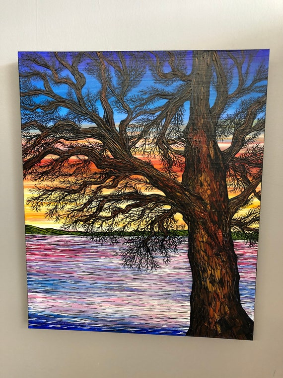 """A Thousand Color Sunset Tree 20x24"""" original acrylic on canvas painting by Tracy Levesque"""