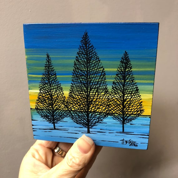 """4x4"""" Winter Trees at Dawn original acrylic painting by Tracy Levesque"""