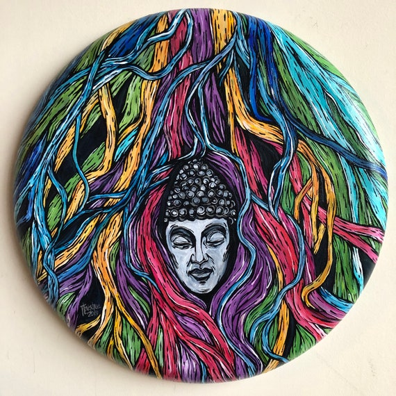"""Entanglement of Mind Buddha Tree Roots 16"""" Original Acrylic Painting by Tracy Lévesque"""