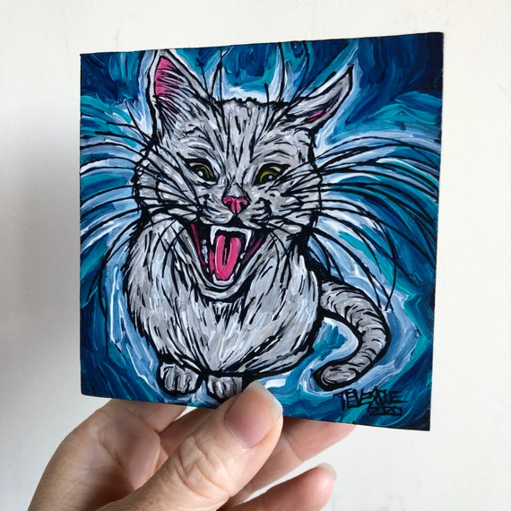 "4x4"" Feed Me White Cat original acrylic painting by Tracy Levesque"