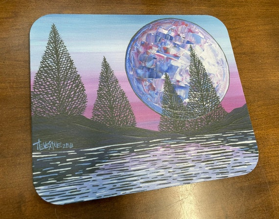 Full Moon Nature pink and blue Mousepad featuring artwork by Tracy Levesque