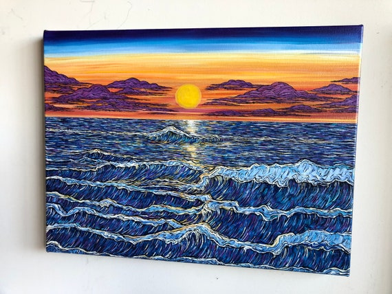"""18x24"""" Halcyon Sunset beautiful landscape painting of the ocean by Tracy Levesque"""