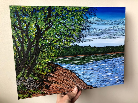 """12x16"""" A Springtime Stroll at Walden Pond New England Massachusetts original painting by Tracy Levesque"""