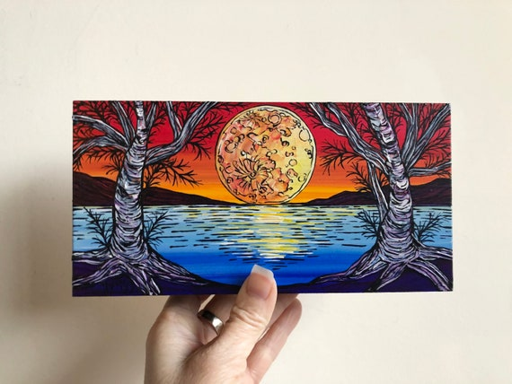 """4x8"""" Golden Moon Birch Corridor New England mini painting by Tracy Levesque"""